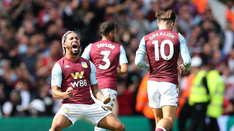 Douglas Luiz celebrates after scoring for Aston Villa