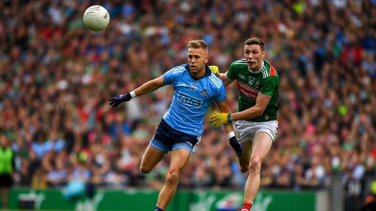 Jonny Cooper and Fionn McDonagh compete for possession