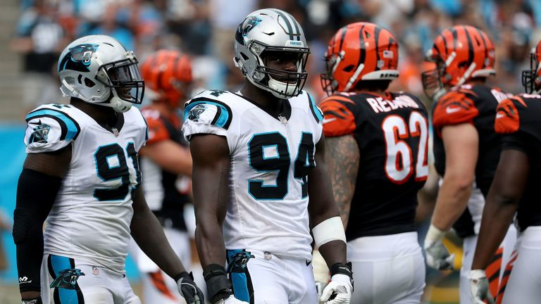 Carolina defensive end Efe Obada started his football career with the London Warriors before making the Panthers' active roster last season