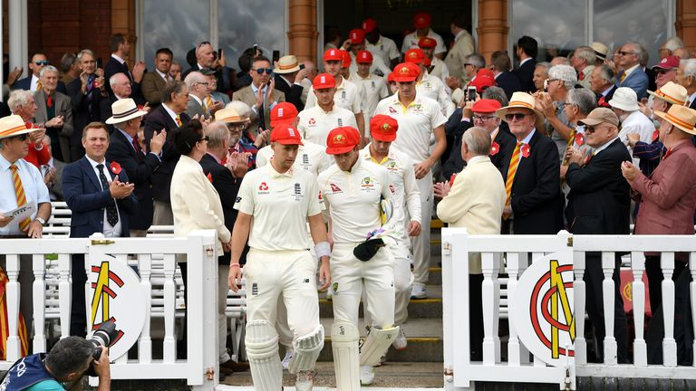 England and Australia players wore red caps on Ruth Strauss Foundation Day at Lord's