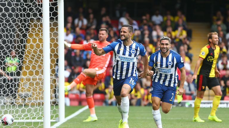 Florin Andone wheels away from goal after scoring Brighton's second