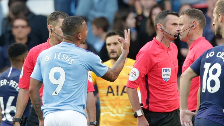Gabriel Jesus pleads with Michael Oliver after his stoppage-time goal against Tottenham on Saturday is ruled out by VAR