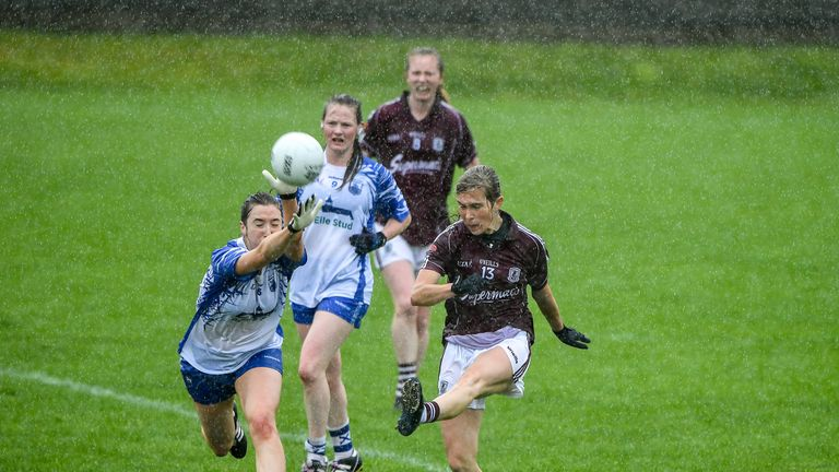 Tracey Leonard of Galway in action against Karen McGrath of Waterford
