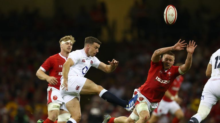 George Ford clears the ball under pressure from Nicky Smith on Saturday