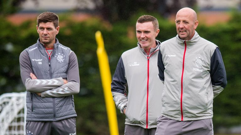 Gerrard, coach Tom Culshaw and assistant manager Gary McAllister