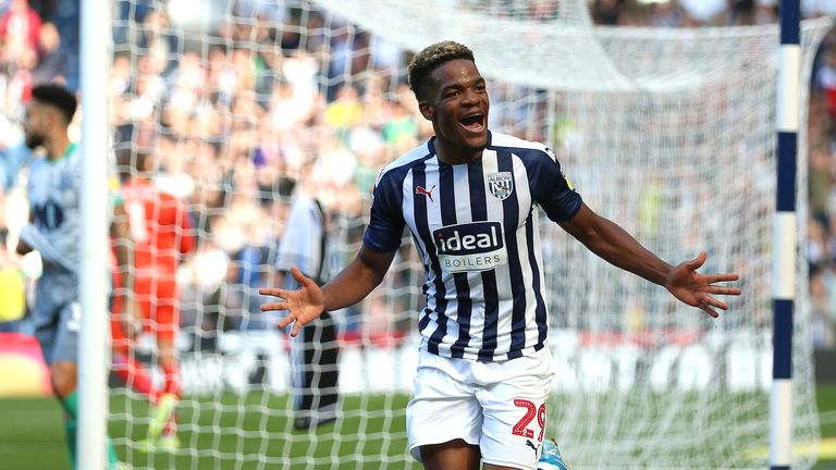 West Bromwich Albion's Grady Diangana celebrates scoring his side's third goal of the game
