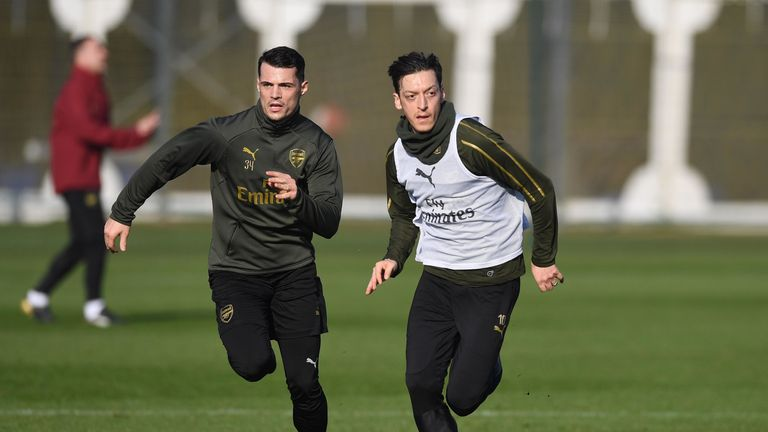 Mesut Ozil and Granit Xhaka face late Arsenal fitness test ahead of Liverpool trip
