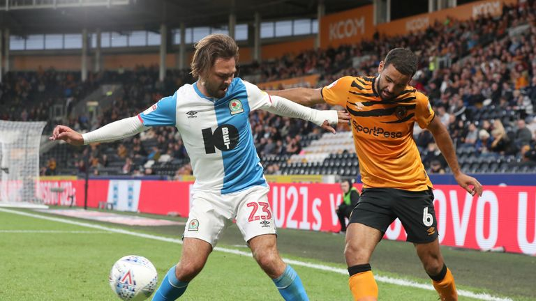 Bradley Dack and Kevin Stewart compete at the KCOM Stadium