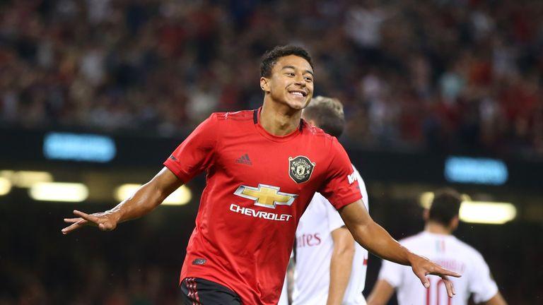 Jesse Lingard celebrates scoring Manchester United's equaliser against AC Milan