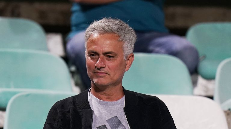 Jose Mourinho watches the Portuguese Primeira Liga match between Vitoria FC and CD Tondela