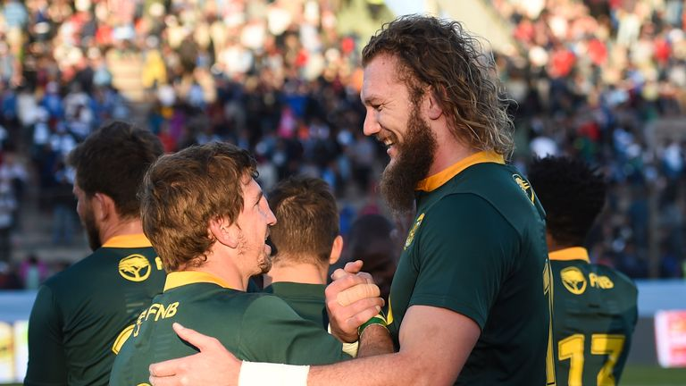 Kwagga Smith (l) and RG Snyman celebrate after the final whistle in Salta