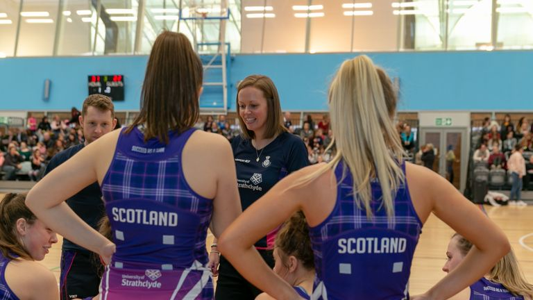 Lesley MacDonald (C) joins Strathclyde Sirens as their new head coach for the 2020 season. (Credit Ian Steele Photography)