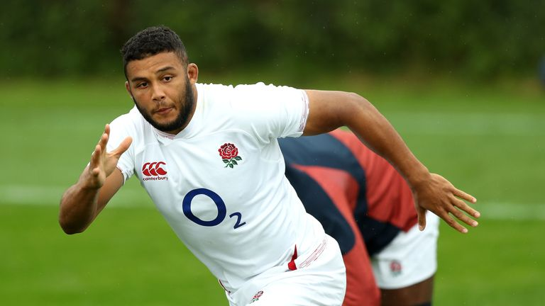 Lewis Ludlam in action during an England training session