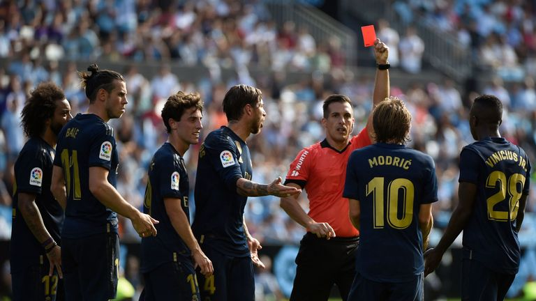 Luka Modric was shown a straight red card in the 54th minute