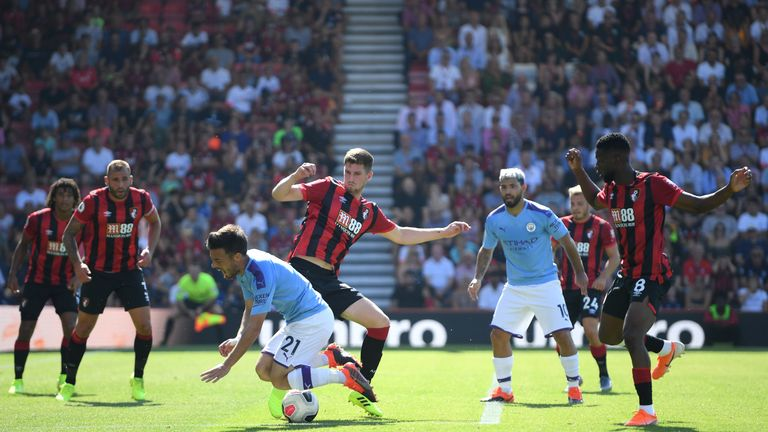 Manchester City should have been awarded a penalty against Bournemouth for his foul on David Silva