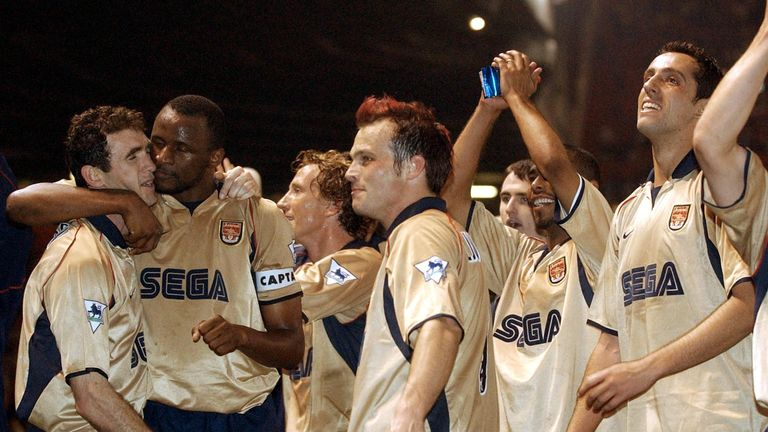 Keown and Edu celebrate winning the double for Arsenal in 2002