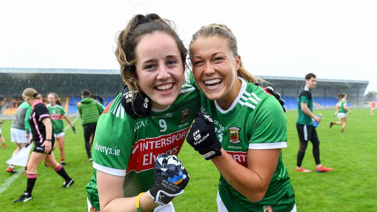 Emma Needham and Sarah Rowe celebrate at full-time