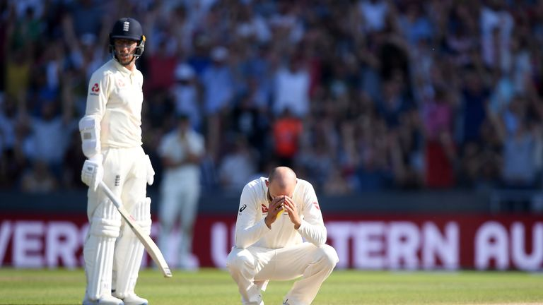 Nathan Lyon had his head in his hands after a failed run out