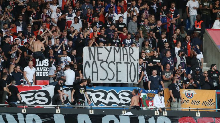 "Paris Saint-Germain fans displayed a banner ""Neymar go away"" during their Ligue 1 match against Nimes"