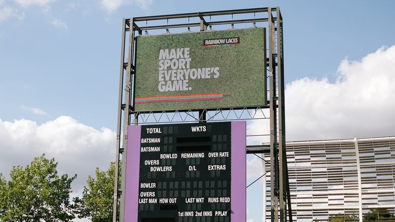 The Rainbow Laces campaign slogan is seen on the big screen at the Ageas Bowl (picture: ECB)