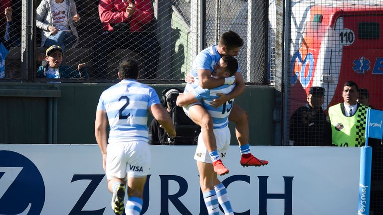 Santiago Cordero celebrates his try which gave Argentina an early lead