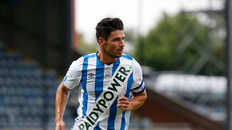 Terriers captain Christopher Schindler during Huddersfield's 3-1 win over Rochdale in a pre-season friendly in July