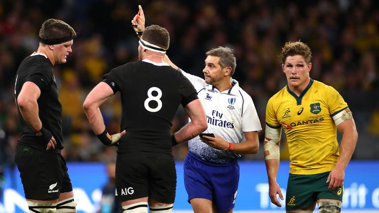 Barrett is dismissed in the opening Bledisloe Cup match in Perth