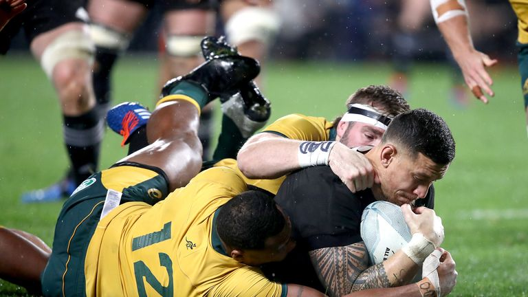 Sonny Bill Williams battled to get over for the first points of the second half