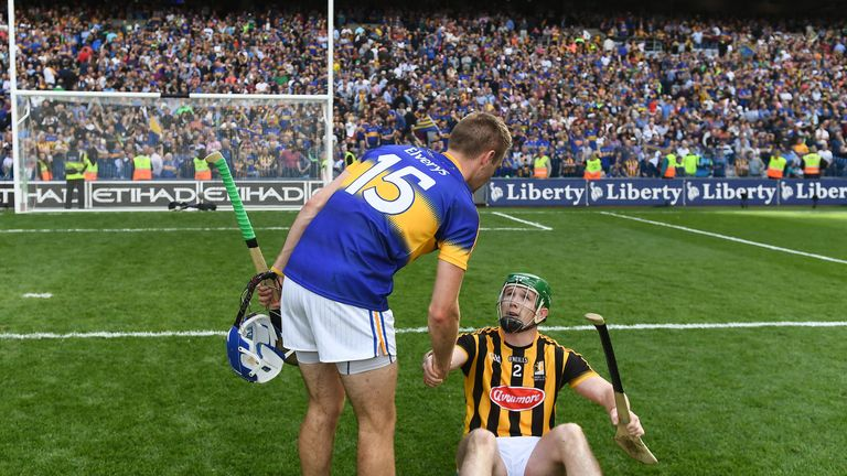 John McGrath shakes hands with Paul Murphy at full-time of the 2016 All-Ireland final
