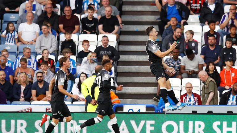 Tom Lawrence celebrates scoring Derby's second goal against Huddersfield