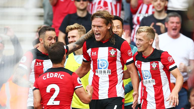 Vestergaard is congratulated after heading home Southampton's equaliser