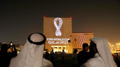 The emblem for the 2022 World Cup in Qatar was projected on some of the country's buildings