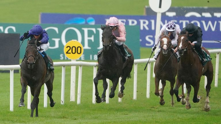 William Buick riding Pinatubo to win the Goffs Vincent O'Brien National Stakes at the Curragh