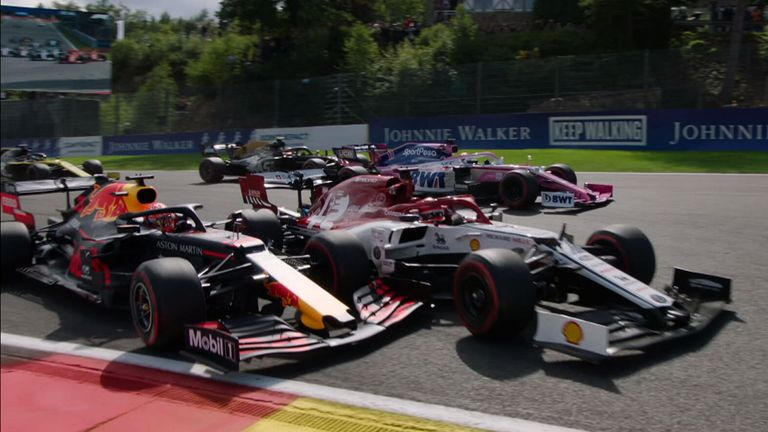 The Red Bull of Max Verstappen ends up in the barriers after making contact with Kimi Raikkonen during the Belgian GP