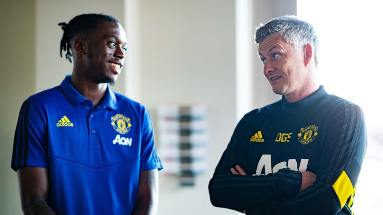 Solskjaer is delighted with his three summer signings, Aaron Wan-Bissaka (pictured), Harry Maguire and Dan James