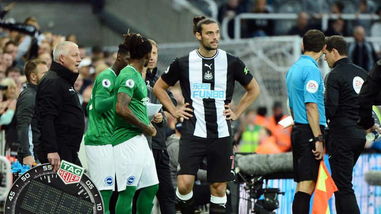 Andy Carroll comes on to make his Newcastle return against Brighton