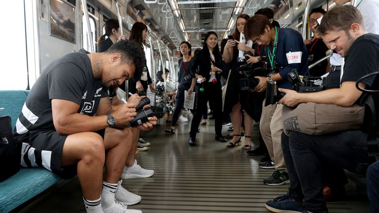 Ardie Savea making use of the Japanese train system, one of the world's best and most efficient
