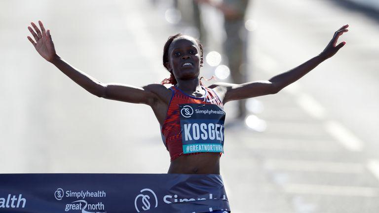 Kenya's Brigid Kosgei broke the world half marathon record
