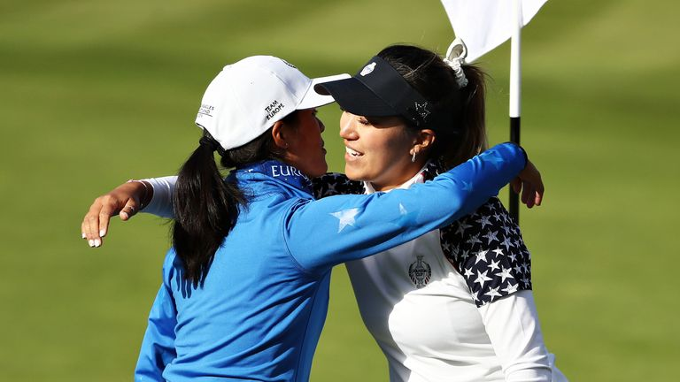 Boutier is congratulated by Annie Park