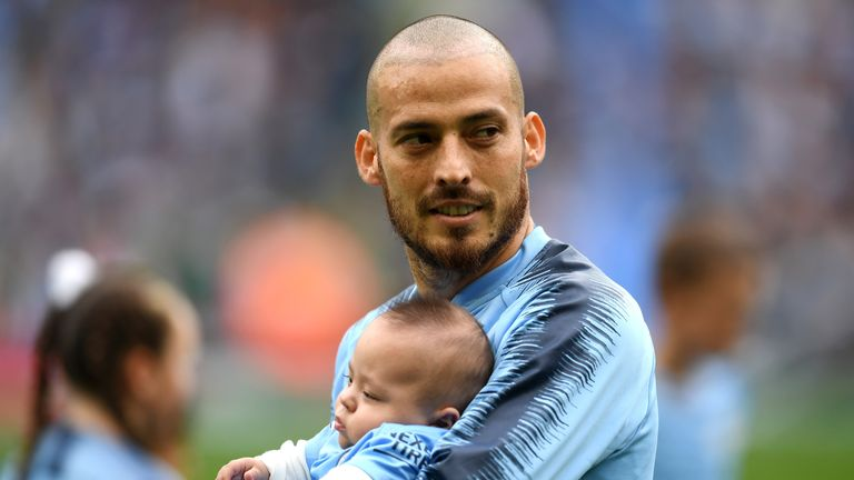 David Silva with son Mateo at City's Premier League game against Huddersfield in April 2018