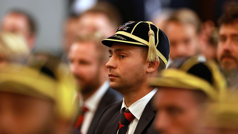 England's players received their World Cup caps at their official tournament welcome in Miyazaki on Monday