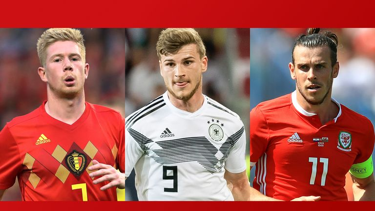 The likes of Belgium's Kevin De Bruyne (left),  Germany's Timo Werner and Wales's Gareth Bale are all in action on Sky on Monday