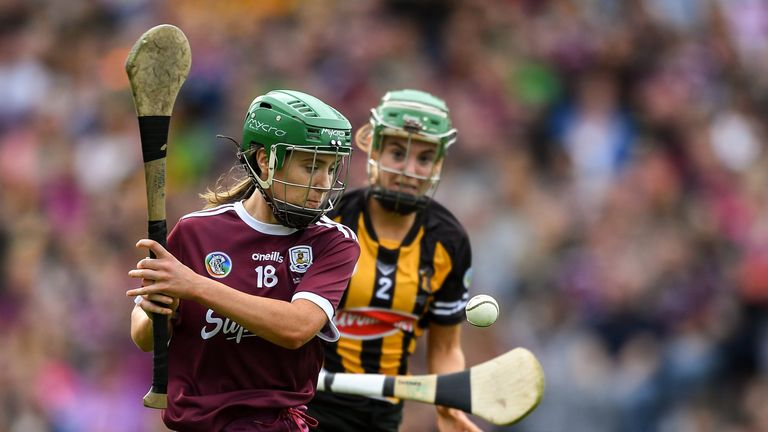Catherine Finnerty of Galway in action against Collette Dormer