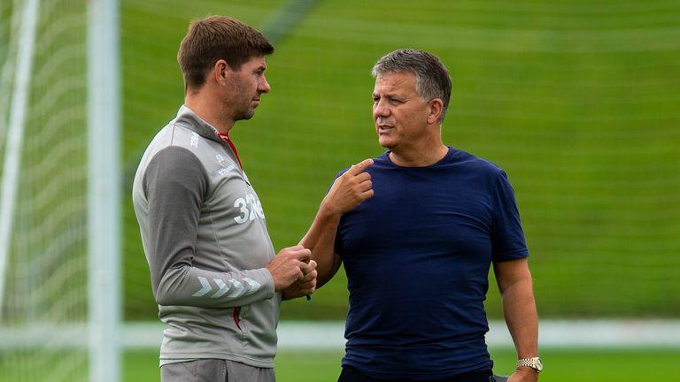 Departing Rangers director of football Mark Allen (right) brought in Steven Gerrard