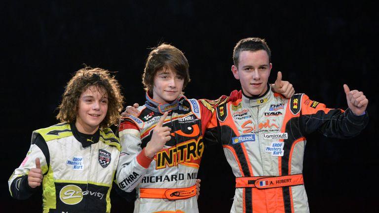 Belgian GP winner Charles Leclerc (c) grew up racing alongside Anthoine Hubert (r)