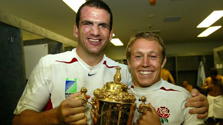 England skipper Martin Johnson and playmaker Jonny Wilkinson celebrate after 2003 World Cup glory