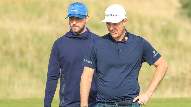 Justin Timberlake (left) will partner Justin Rose in Scotland