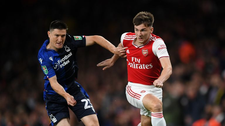 Kieran Tierney made his Arsenal debut against Nottingham Forest