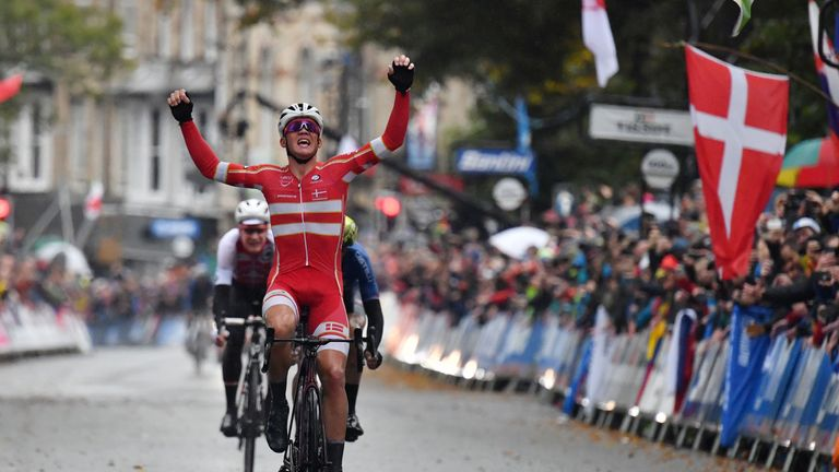 Mads Pedersen became Denmark's first road race world champion on Sunday