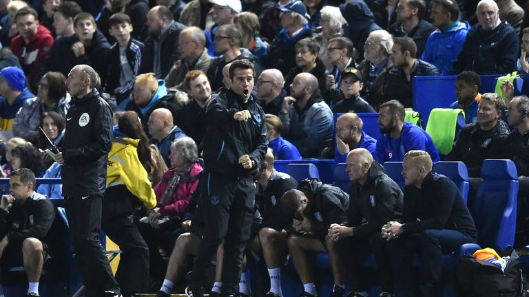 Marco Silva celebrates as Everton eased to a much-needed win over Wednesday